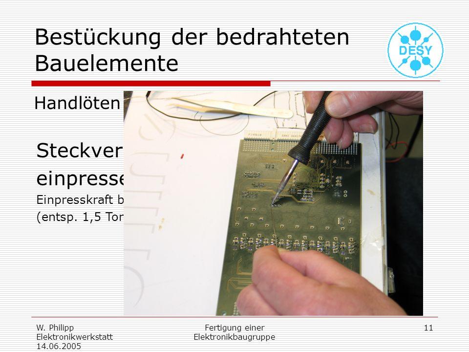 W. Philipp Elektronikwerkstatt 14.06.2005 Fertigung einer Elektronikbaugruppe 11 Bestückung der bedrahteten Bauelemente Handlöten Steckverbinder einpr
