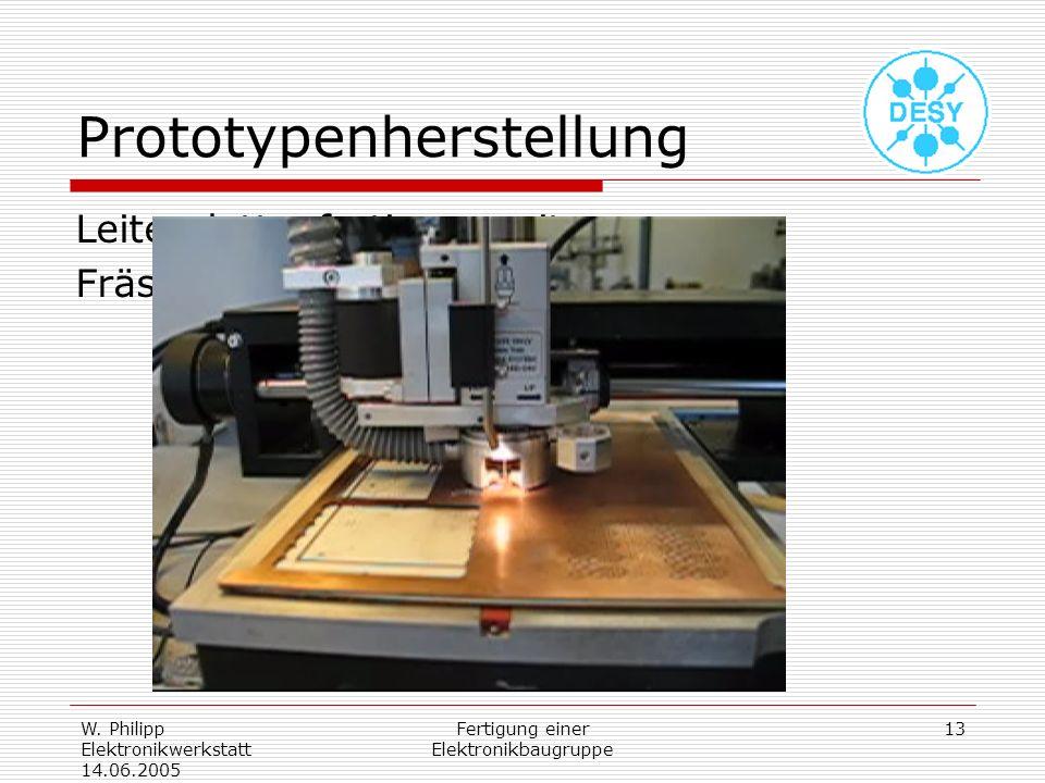 W. Philipp Elektronikwerkstatt 14.06.2005 Fertigung einer Elektronikbaugruppe 13 Prototypenherstellung Leiterplattenfertigung mit Fräsbohrplotter