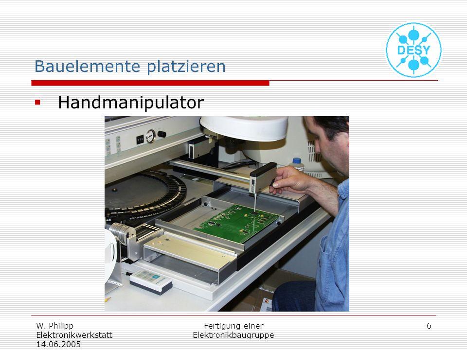 W. Philipp Elektronikwerkstatt 14.06.2005 Fertigung einer Elektronikbaugruppe 6 Bauelemente platzieren Handmanipulator
