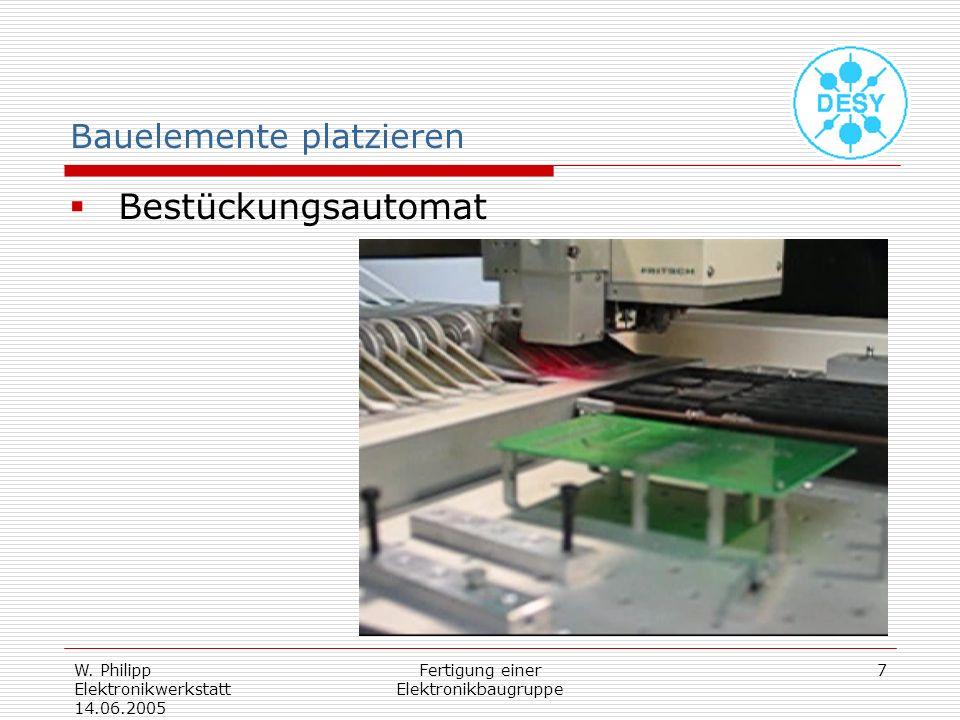 W. Philipp Elektronikwerkstatt 14.06.2005 Fertigung einer Elektronikbaugruppe 7 Bauelemente platzieren Bestückungsautomat