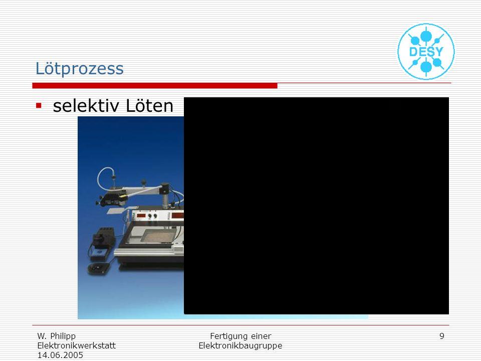 W. Philipp Elektronikwerkstatt 14.06.2005 Fertigung einer Elektronikbaugruppe 9 Lötprozess selektiv Löten