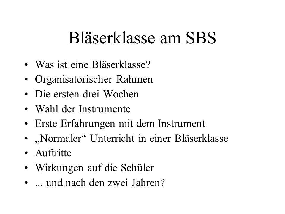 Bläserklasse am SBS Was ist eine Bläserklasse? Organisatorischer Rahmen Die ersten drei Wochen Wahl der Instrumente Erste Erfahrungen mit dem Instrume
