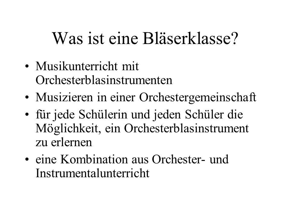 Was ist eine Bläserklasse? Musikunterricht mit Orchesterblasinstrumenten Musizieren in einer Orchestergemeinschaft für jede Schülerin und jeden Schüle