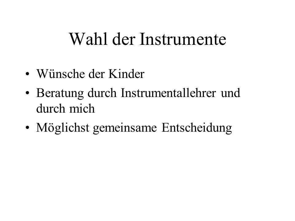 Wahl der Instrumente Wünsche der Kinder Beratung durch Instrumentallehrer und durch mich Möglichst gemeinsame Entscheidung