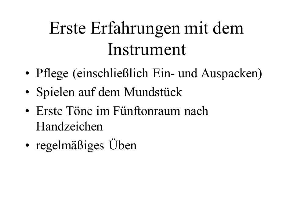 Erste Erfahrungen mit dem Instrument Pflege (einschließlich Ein- und Auspacken) Spielen auf dem Mundstück Erste Töne im Fünftonraum nach Handzeichen r