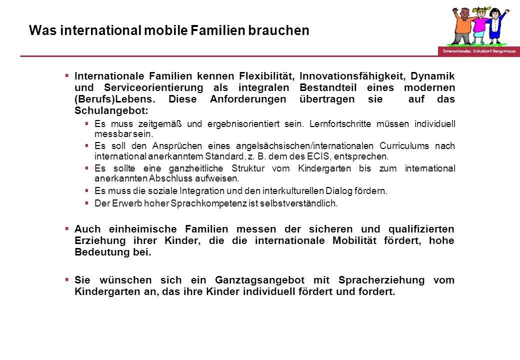 Internationales Schuldorf Bergstrasse Was international mobile Familien brauchen Internationale Familien kennen Flexibilität, Innovationsfähigkeit, Dynamik und Serviceorientierung als integralen Bestandteil eines modernen (Berufs)Lebens.