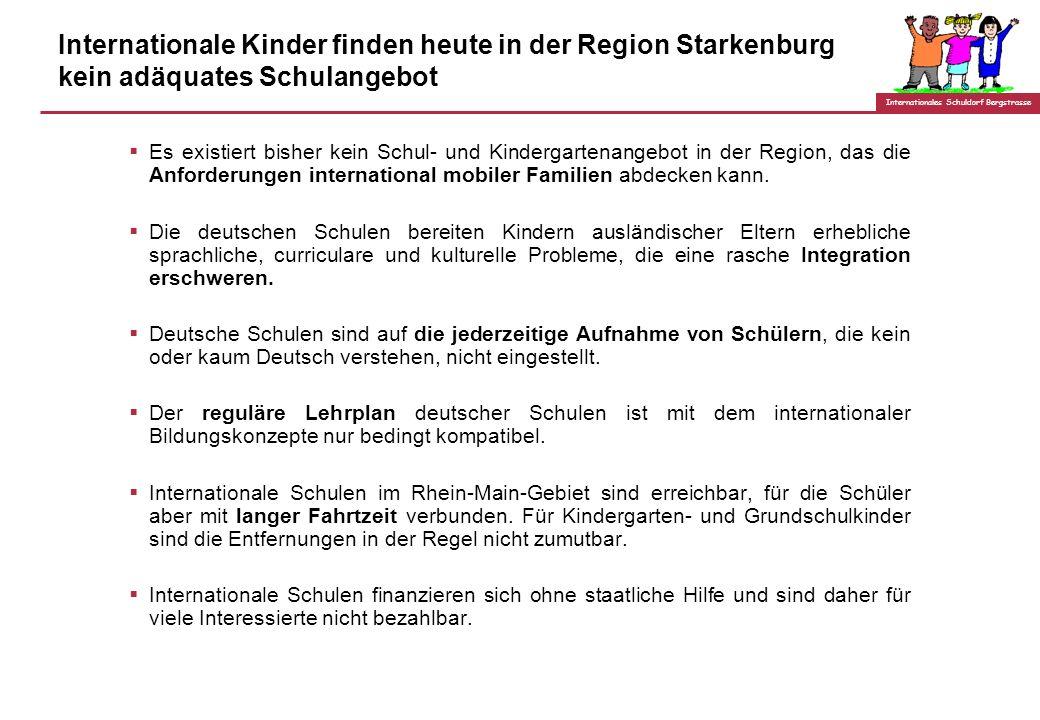 Internationales Schuldorf Bergstrasse Internationale Kinder finden heute in der Region Starkenburg kein adäquates Schulangebot Es existiert bisher kein Schul- und Kindergartenangebot in der Region, das die Anforderungen international mobiler Familien abdecken kann.