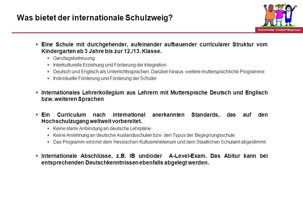 Internationales Schuldorf Bergstrasse Was wir wollen: Ein Schulprofil aus einem Guss 13. Klasse 12. Klasse 11. Klasse. 1. Klasse Vorschule/ Kindergart