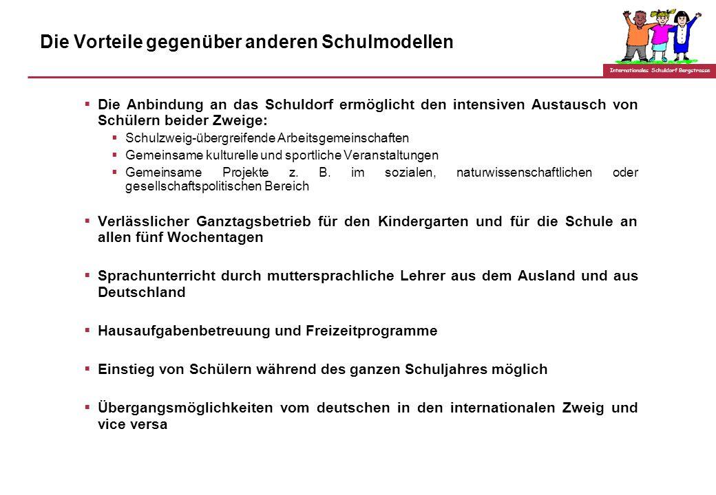 Internationales Schuldorf Bergstrasse Was bietet der internationale Schulzweig? Eine Schule mit durchgehender, aufeinander aufbauender curricularer St