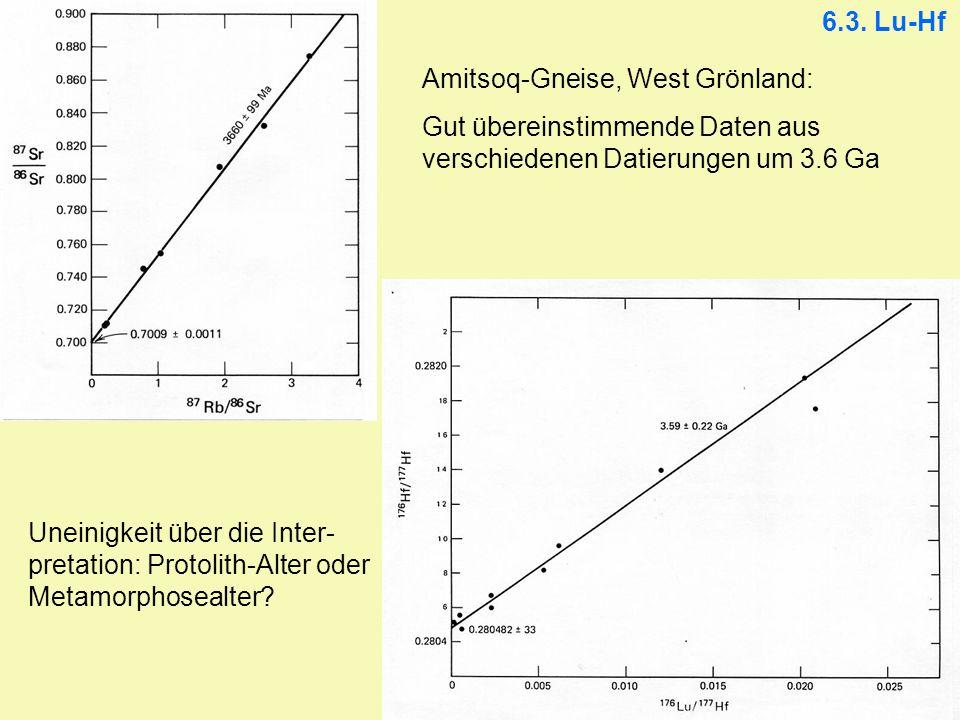 6.3. Lu-Hf Amitsoq-Gneise, West Grönland: Gut übereinstimmende Daten aus verschiedenen Datierungen um 3.6 Ga Uneinigkeit über die Inter- pretation: Pr