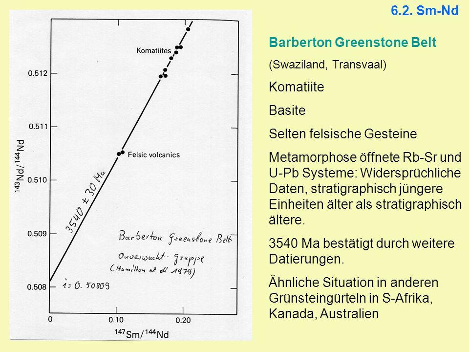 6.2. Sm-Nd Barberton Greenstone Belt (Swaziland, Transvaal) Komatiite Basite Selten felsische Gesteine Metamorphose öffnete Rb-Sr und U-Pb Systeme: Wi