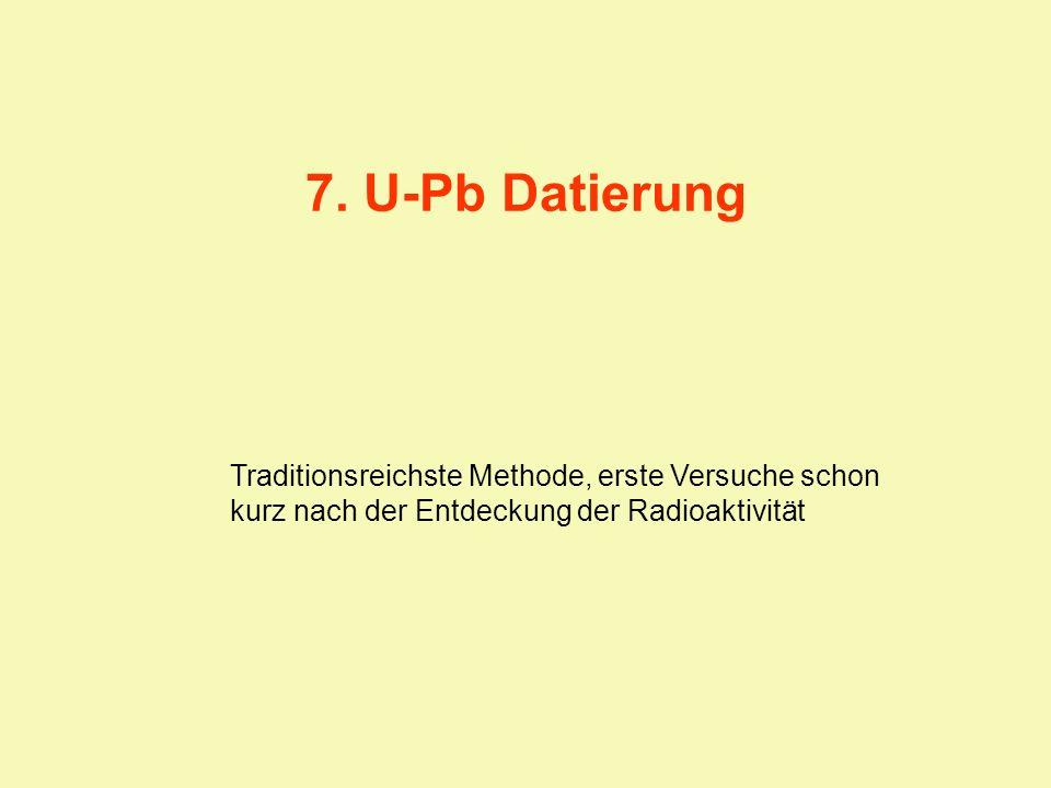 7. U-Pb Datierung Traditionsreichste Methode, erste Versuche schon kurz nach der Entdeckung der Radioaktivität