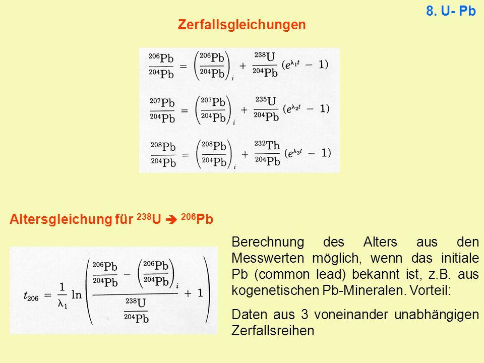 Zerfallsgleichungen Altersgleichung für 238 U 206 Pb 8. U- Pb Berechnung des Alters aus den Messwerten möglich, wenn das initiale Pb (common lead) bek