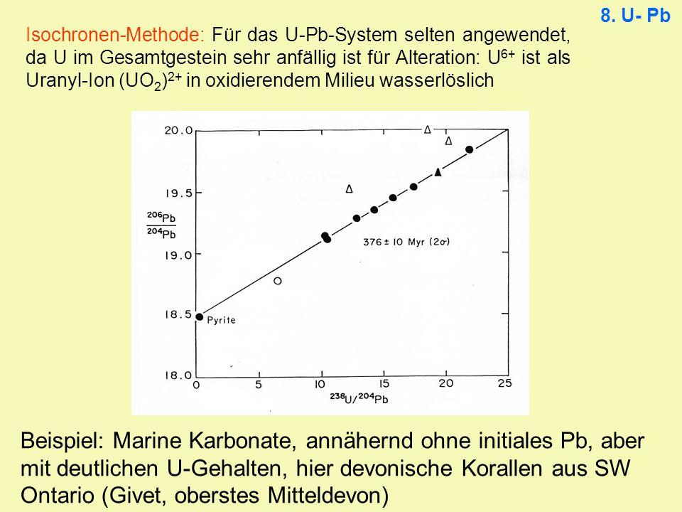 8. U- Pb Isochronen-Methode: Für das U-Pb-System selten angewendet, da U im Gesamtgestein sehr anfällig ist für Alteration: U 6+ ist als Uranyl-Ion (U