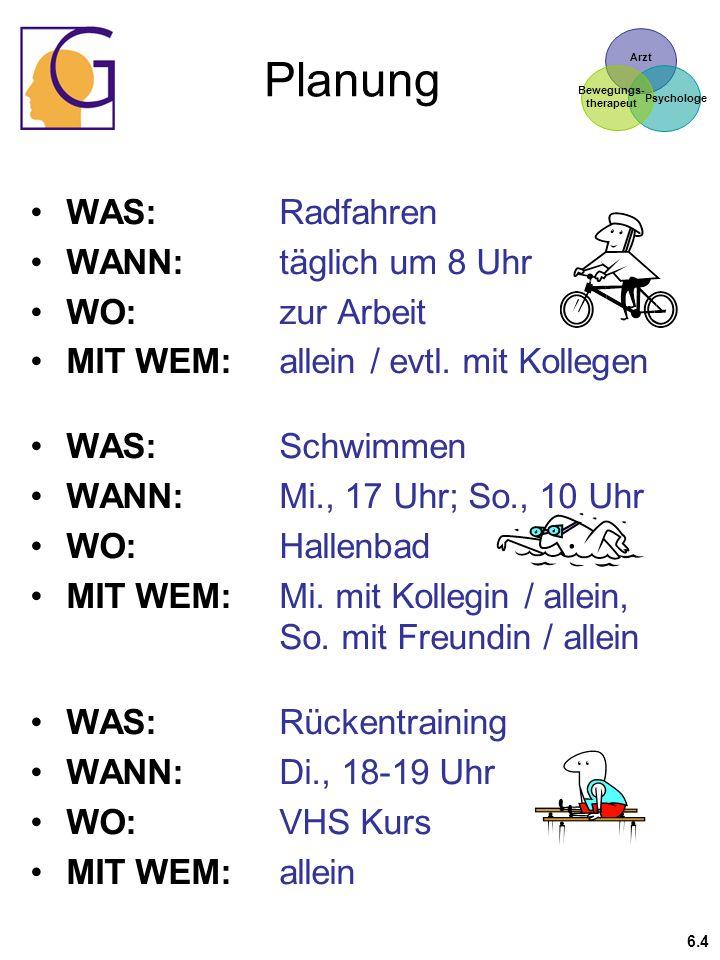 Arzt Psychologe Bewegungs- therapeut Planung WAS:Radfahren WANN:täglich um 8 Uhr WO:zur Arbeit MIT WEM:allein / evtl. mit Kollegen WAS: Schwimmen WANN