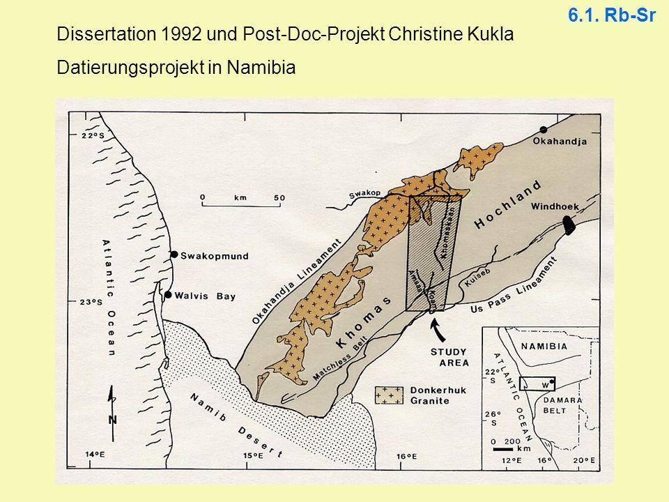 Dissertation 1992 und Post-Doc-Projekt Christine Kukla Datierungsprojekt in Namibia