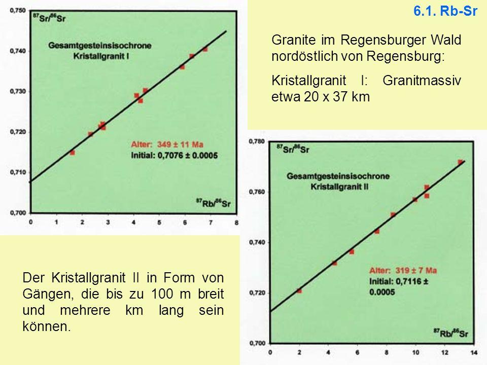 6.1. Rb-Sr Granite im Regensburger Wald nordöstlich von Regensburg: Kristallgranit I: Granitmassiv etwa 20 x 37 km Der Kristallgranit II in Form von G