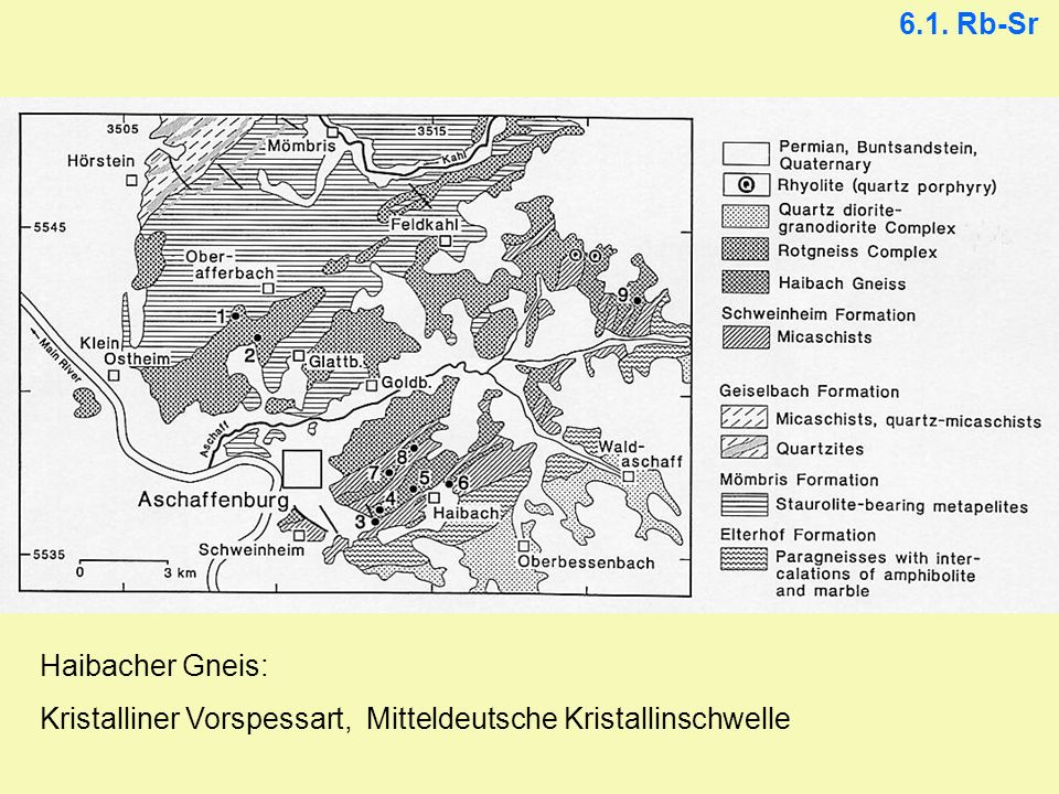 6.1. Rb-Sr Kleinbereichsisochrone aus 31 Gesteinsscheiben und 2 Granatfraktionen