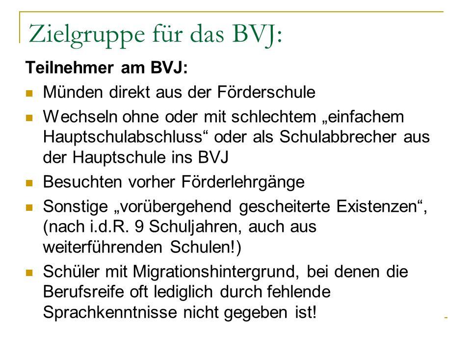Pädagogische Ziele des BVJ Für alle gleiche Bildungsvoraussetzungen (Ziel: Berufsreife) herbeizuführen Ihrem sonderpädagogischen Förderbedarf zu entsprechen, bzw.