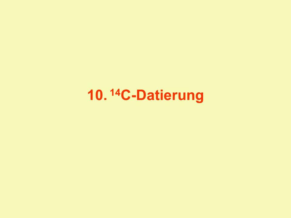 Kohlenstoff besteht aus den stabilen Isotopen 12 C und 13 C und aus dem kurzlebig radioaktiven Isotop 14 C 14 C wird durch Wechselwirkung kosmischer Strahlung mit der Atmosphäre ständig neu gebildet: 14 N (7Pro,7Neu) + 1 Neutron = 14 C (6Pro,8Neu) + 1 Proton 14 C zerfällt mit einer Halbwertszeit von 5730 Jahren zu 14 N unter Abgabe von - -Strahlung Es besteht ein Gleichgewicht zwischen kosmogener Produktion und radioaktivem Zerfall Dieses Gleichgewicht (konstantes C-Isotopenverhältnis) besteht auch im lebenden Organismus, da C auf Grund des Stoffwechsels ständig ausgetauscht bzw.