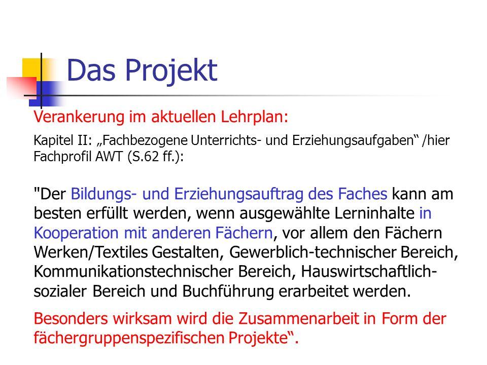 Das Projekt Verankerung im aktuellen Lehrplan: Kapitel II: Fachbezogene Unterrichts- und Erziehungsaufgaben /hier Fachprofil AWT (S.62 ff.):