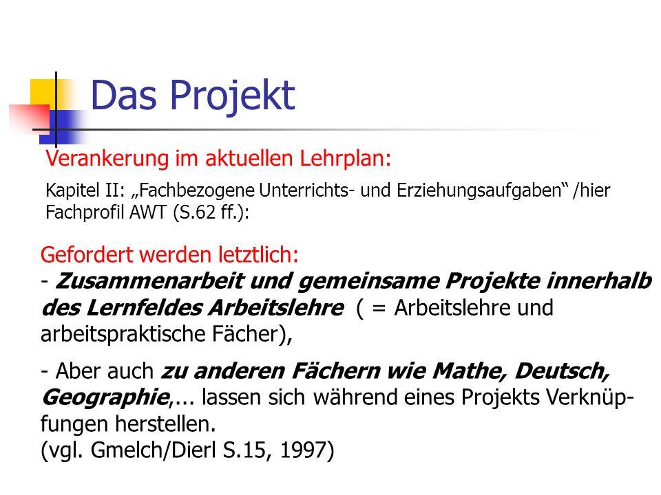 Das Projekt Verankerung im aktuellen Lehrplan: Kapitel II: Fachbezogene Unterrichts- und Erziehungsaufgaben /hier Fachprofil AWT (S.62 ff.): Gefordert
