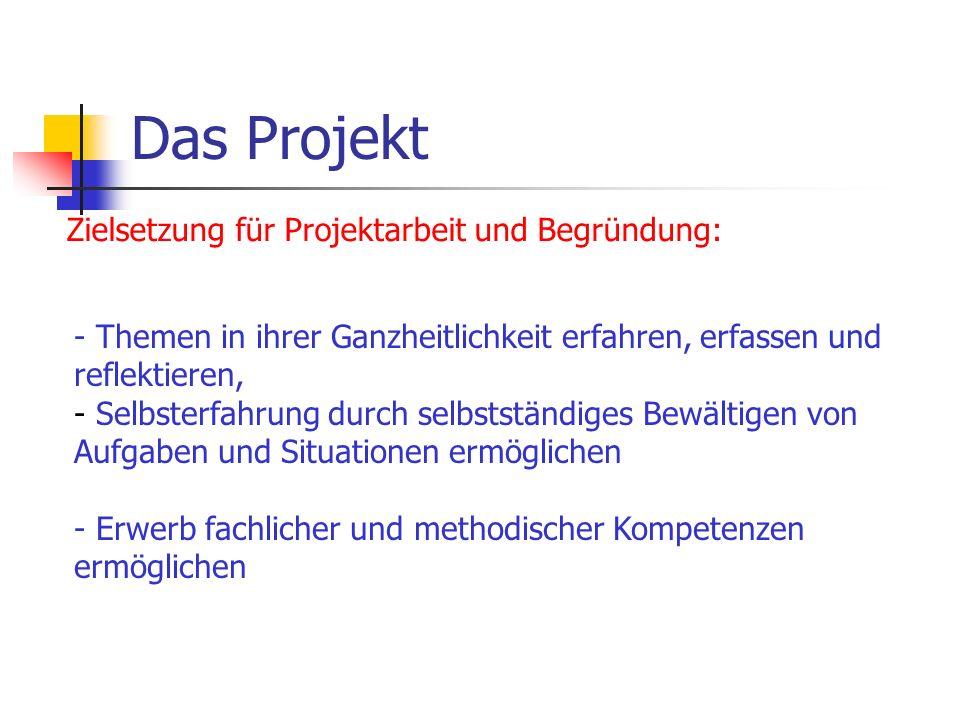 Das Projekt Zielsetzung für Projektarbeit und Begründung: - Themen in ihrer Ganzheitlichkeit erfahren, erfassen und reflektieren, - Selbsterfahrung du