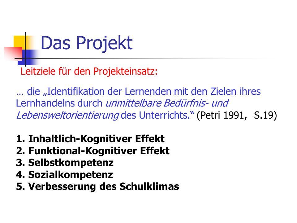 Das Projekt Leitziele für den Projekteinsatz: … die Identifikation der Lernenden mit den Zielen ihres Lernhandelns durch unmittelbare Bedürfnis- und L