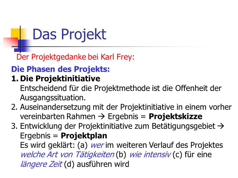 Das Projekt Der Projektgedanke bei Karl Frey: Die Phasen des Projekts: 1.Die Projektinitiative Entscheidend für die Projektmethode ist die Offenheit d