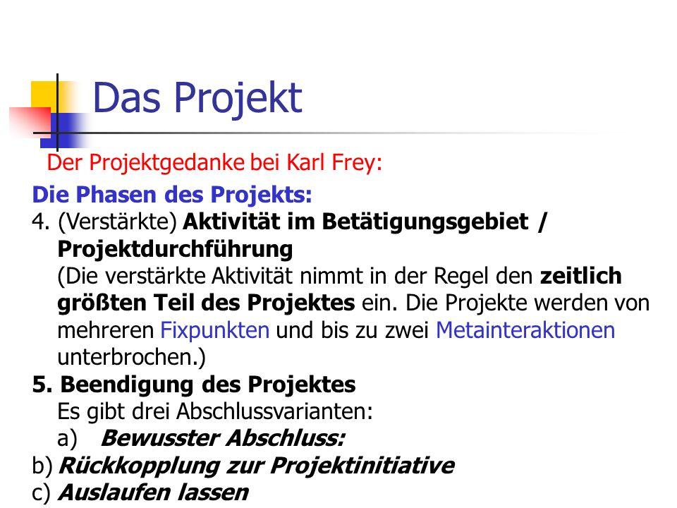 Das Projekt Der Projektgedanke bei Karl Frey: Die Phasen des Projekts: 4. (Verstärkte) Aktivität im Betätigungsgebiet / Projektdurchführung (Die verst
