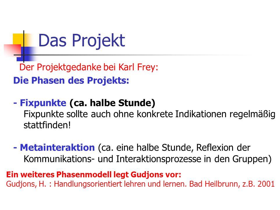 Das Projekt Der Projektgedanke bei Karl Frey: Die Phasen des Projekts: - Fixpunkte (ca. halbe Stunde) Fixpunkte sollte auch ohne konkrete Indikationen