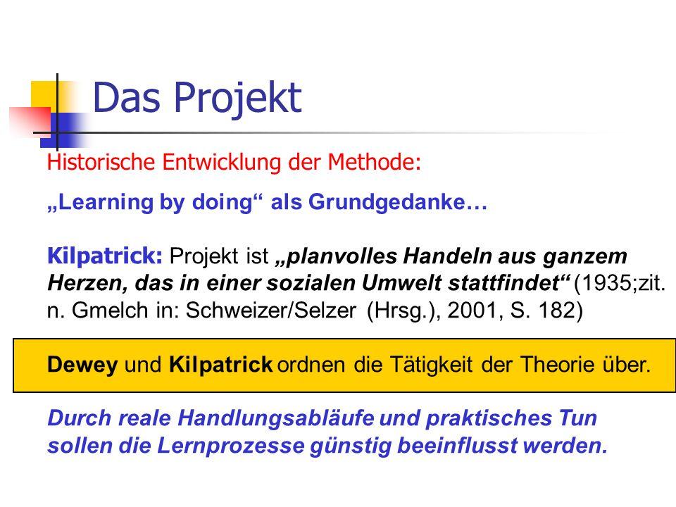 Das Projekt Historische Entwicklung der Methode: Learning by doing als Grundgedanke… Kilpatrick: Projekt ist planvolles Handeln aus ganzem Herzen, das
