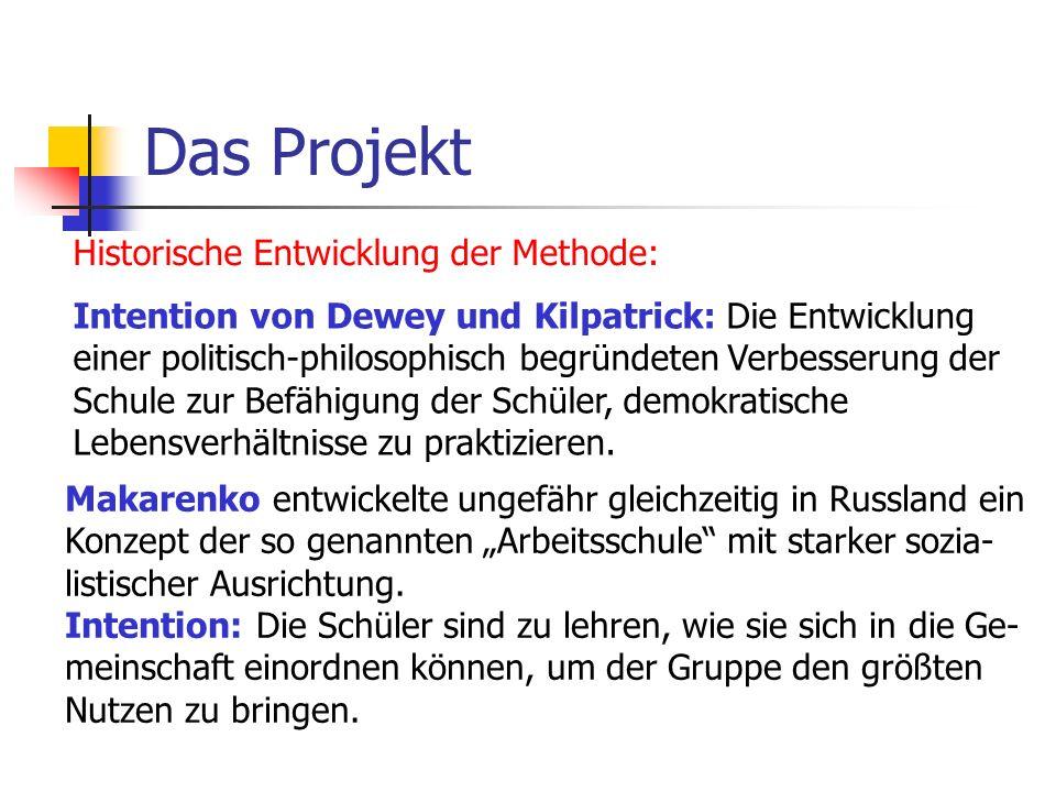 Das Projekt Historische Entwicklung der Methode: Intention von Dewey und Kilpatrick: Die Entwicklung einer politisch-philosophisch begründeten Verbess