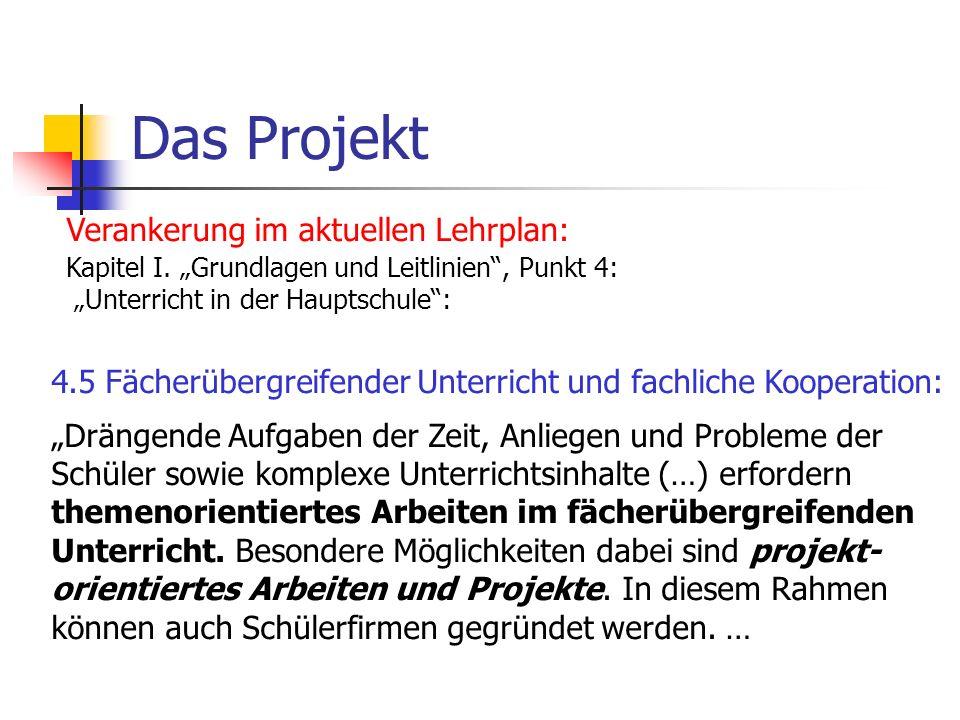 Das Projekt Verankerung im aktuellen Lehrplan: Kapitel I. Grundlagen und Leitlinien, Punkt 4: Unterricht in der Hauptschule: 4.5 Fächerübergreifender
