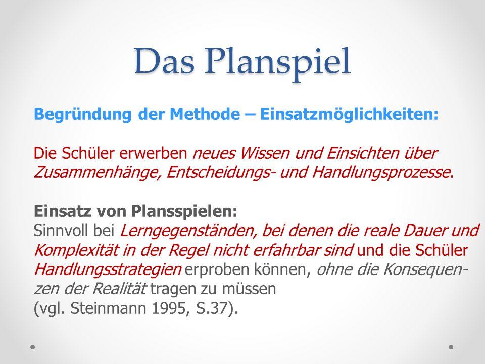 Das Planspiel Merkmale von Planspielen: 1.