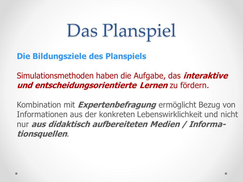 Das Planspiel Die Bildungsziele des Planspiels: Weiteres wichtiges Bildungsziel von Planspielen: Erhöhung der Handlungskompetenz der Schüler.