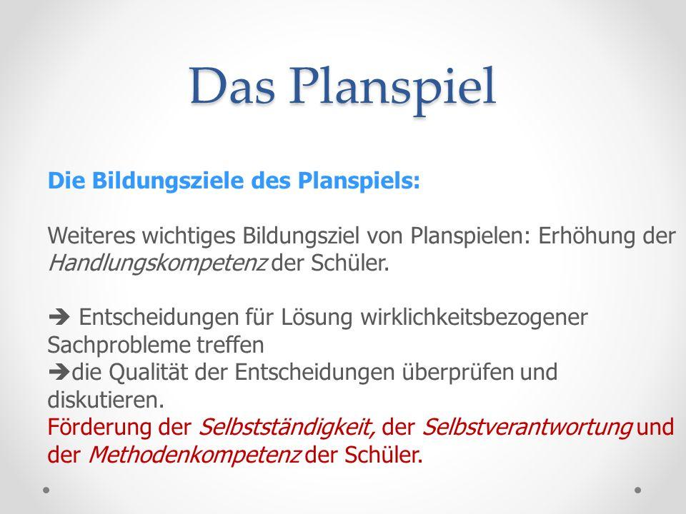 Das Planspiel Die Bildungsziele des Planspiels: Inhaltlich ist das Planspiel innerhalb der Arbeitslehre in erster Linie eine Methode zur Vermittlung ökonomischer Grundbildung.