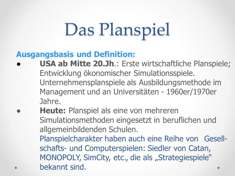 Das Planspiel Erste Dimension des Planspiels: Das Modell Mit dem Modell wird festgelegt: - der Spielrahmen, - des zeitliche Rahmens und - die Spielregeln Komplexe Zusammenhänge werden in inhaltlich reduzierter und zeitlich gedrängter Form präsentiert (vgl.