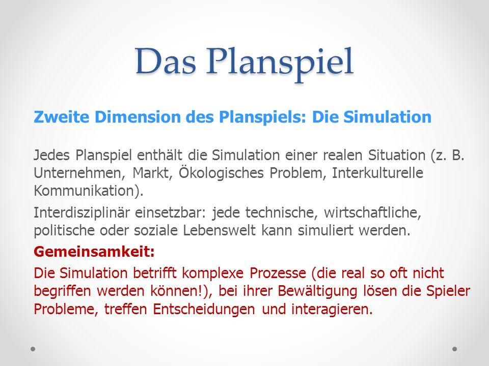Das Planspiel Dritte Dimension des Planspiels: Die Regeln Mitspieler unterliegen einem System von speziellen Regeln.