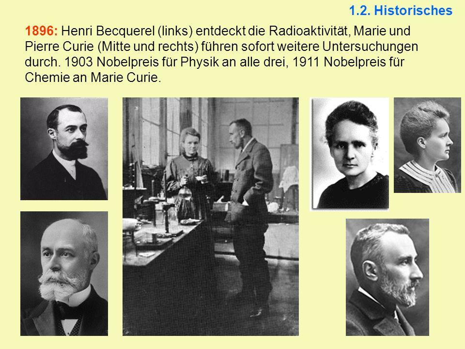 1896: Henri Becquerel (links) entdeckt die Radioaktivität, Marie und Pierre Curie (Mitte und rechts) führen sofort weitere Untersuchungen durch. 1903