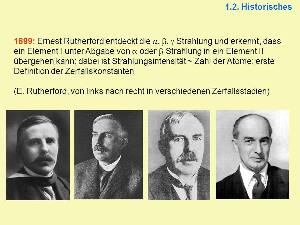 1899: Ernest Rutherford entdeckt die Strahlung und erkennt, dass ein Element I unter Abgabe von oder Strahlung in ein Element II übergehen kann; dabei