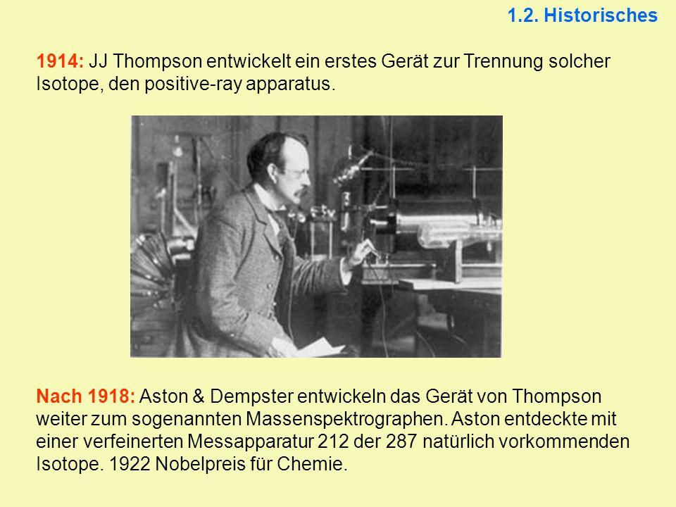 1914: JJ Thompson entwickelt ein erstes Gerät zur Trennung solcher Isotope, den positive-ray apparatus. Nach 1918: Aston & Dempster entwickeln das Ger