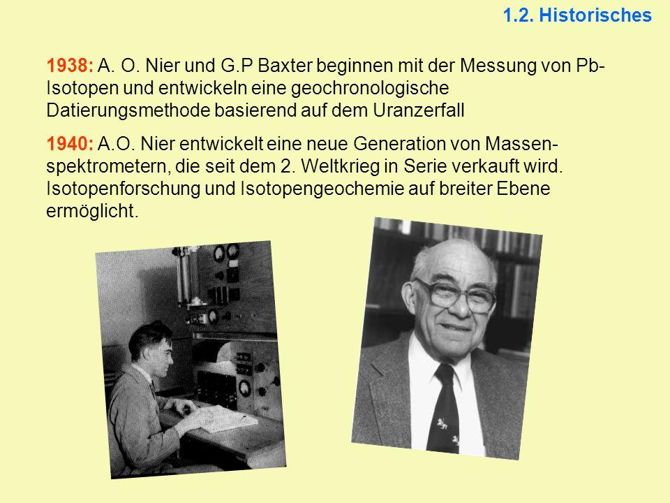 1.2. Historisches 1938: A. O. Nier und G.P Baxter beginnen mit der Messung von Pb- Isotopen und entwickeln eine geochronologische Datierungsmethode ba