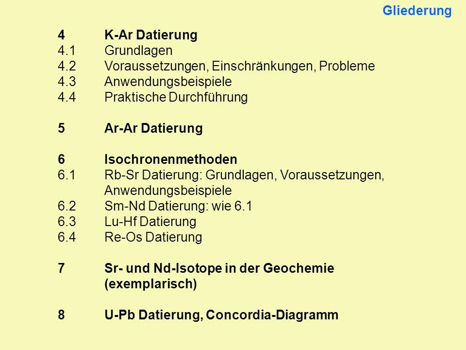 4K-Ar Datierung 4.1Grundlagen 4.2Voraussetzungen, Einschränkungen, Probleme 4.3Anwendungsbeispiele 4.4Praktische Durchführung 5Ar-Ar Datierung 6Isochr
