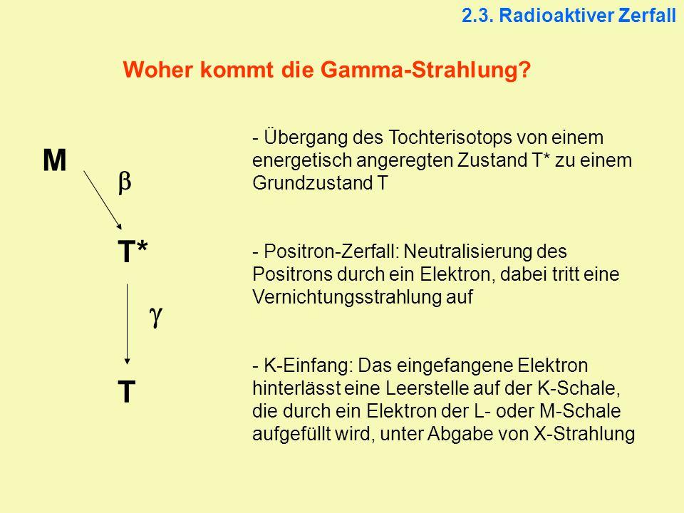 Woher kommt die Gamma-Strahlung? - Übergang des Tochterisotops von einem energetisch angeregten Zustand T* zu einem Grundzustand T - Positron-Zerfall: