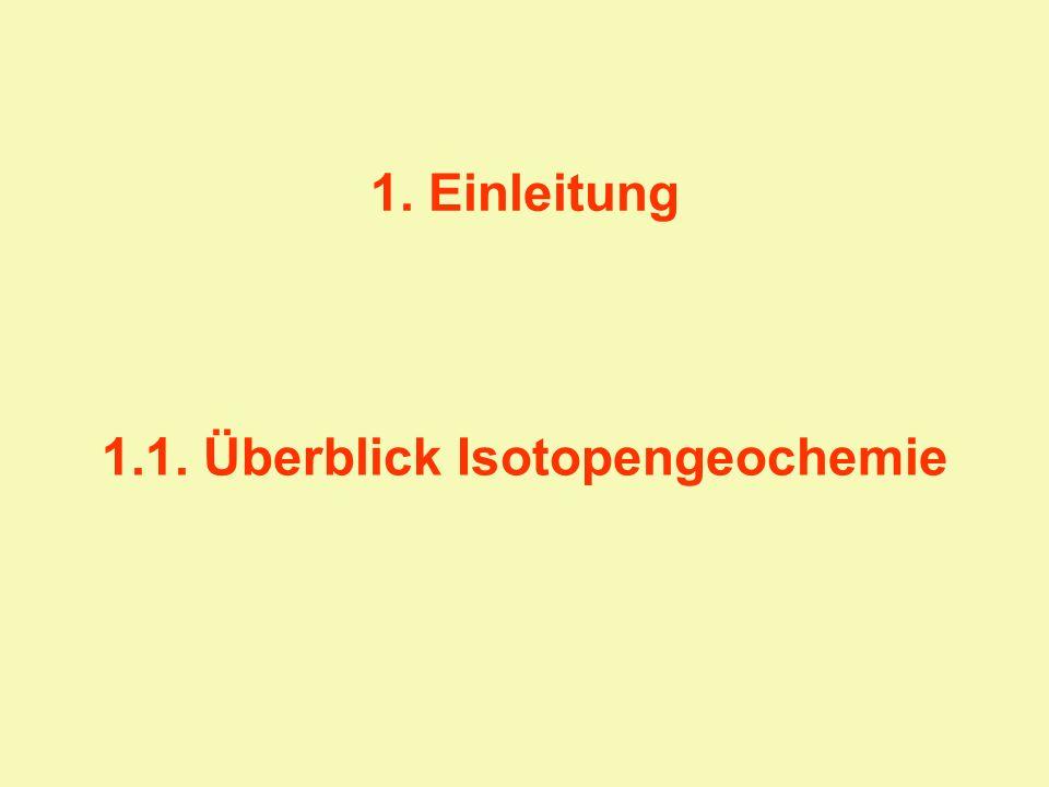 1.1. Überblick Isotopengeochemie 1. Einleitung