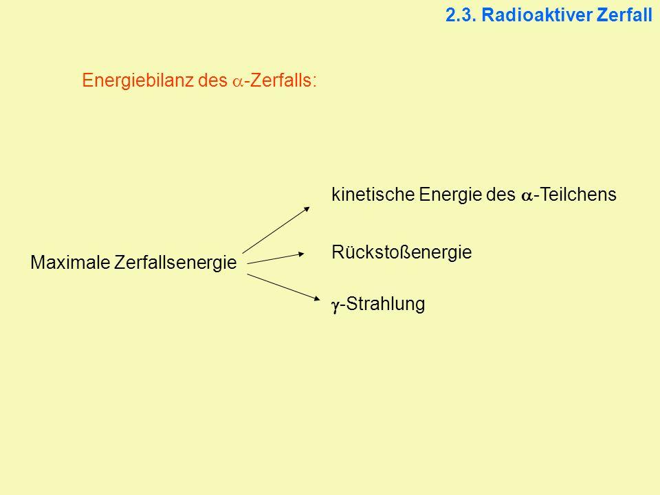 2.3. Radioaktiver Zerfall Energiebilanz des -Zerfalls: Maximale Zerfallsenergie kinetische Energie des -Teilchens Rückstoßenergie -Strahlung