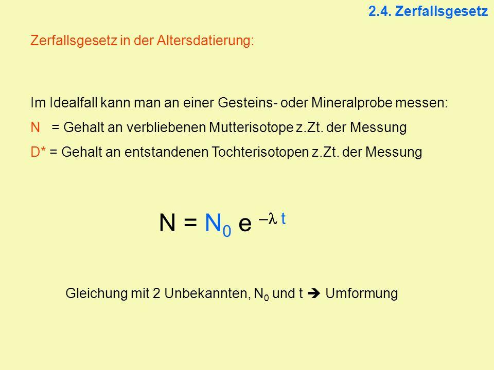 2.4. Zerfallsgesetz Zerfallsgesetz in der Altersdatierung: Im Idealfall kann man an einer Gesteins- oder Mineralprobe messen: N = Gehalt an verblieben