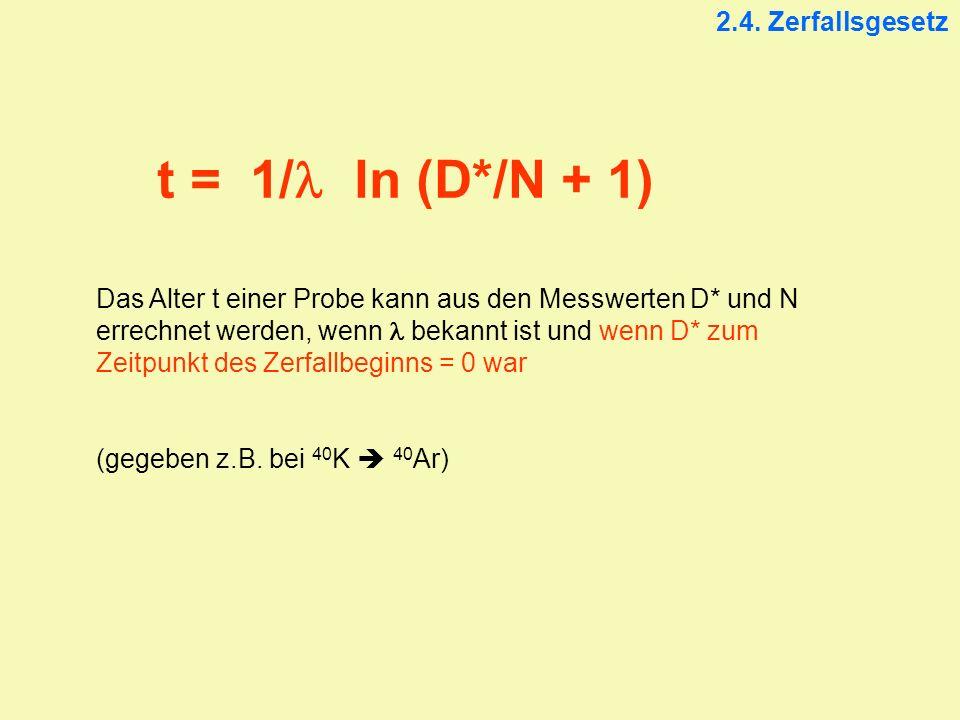 2.4. Zerfallsgesetz t = 1/ ln (D*/N + 1) Das Alter t einer Probe kann aus den Messwerten D* und N errechnet werden, wenn bekannt ist und wenn D* zum Z