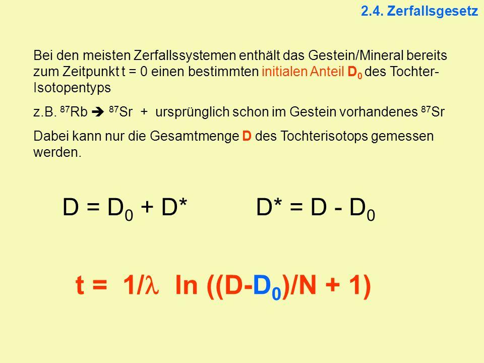 2.4. Zerfallsgesetz Bei den meisten Zerfallssystemen enthält das Gestein/Mineral bereits zum Zeitpunkt t = 0 einen bestimmten initialen Anteil D 0 des
